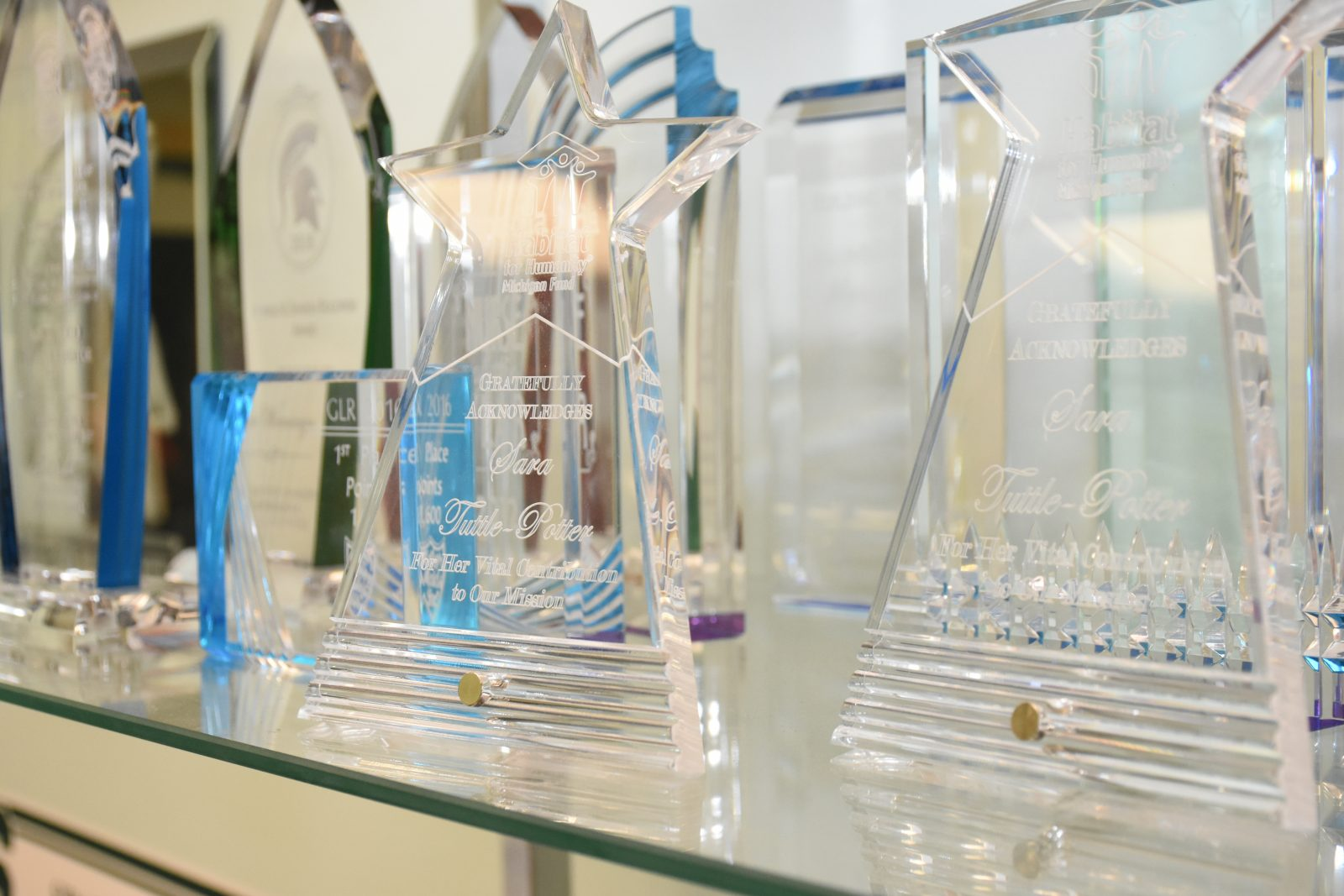 Larry Cushion Trophies and Engraving Glass Awards Etched
